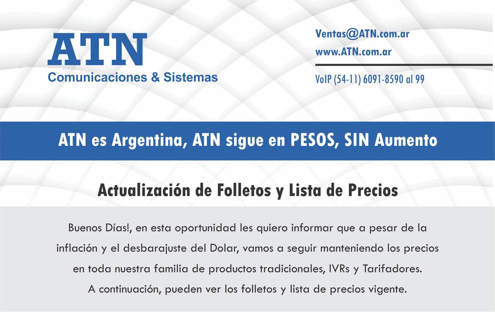 ATN - No aumentamos los precios!!